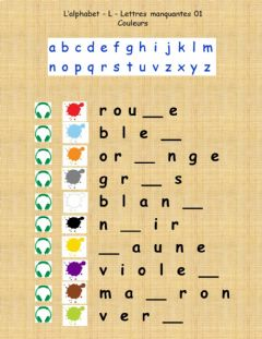 Interactive worksheet Alphabet - L - Couleurs -  Lettre manquante 01