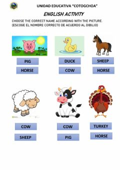 Interactive worksheet Animals in the farm