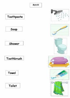 Interactive worksheet Objects in the bathroom