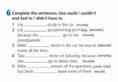 Interactive worksheet Could, Couldn't, Had to, Didn't have to