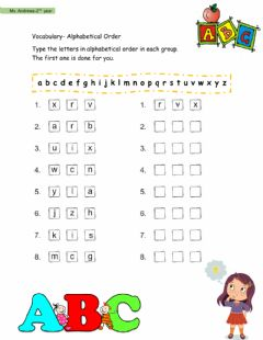 Interactive worksheet Alphabetical Order