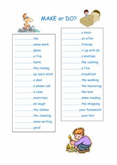 Interactive worksheet Make and do collocations