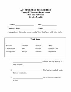 Ficha interactiva AFA  Physical Education Diet and Nutrition Worksheet