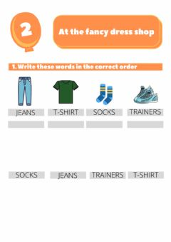 Interactive worksheet At the fancy dress shop