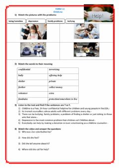 Interactive worksheet ChildLine, Spotlight 11