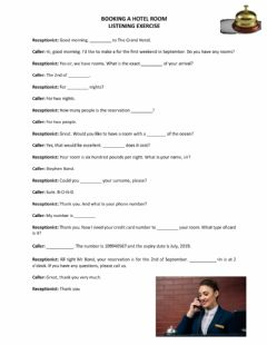 Interactive worksheet Booking a hotel room