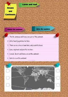 Interactive worksheet Oceans and Continents