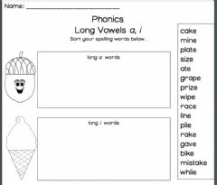 Interactive worksheet Long Vowel a and I