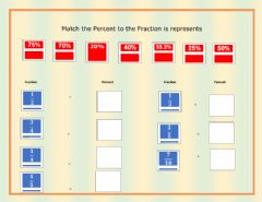 Interactive worksheet Match Percent to Fractions