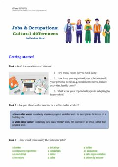Interactive worksheet Job & Occupations: Cultural differences