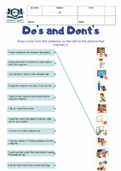 Interactive worksheet Do's and Dont's in the ICT Lab