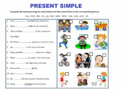 Interactive worksheet Present simple 3rd person -s