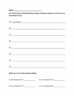 Interactive worksheet Factors and Multiples