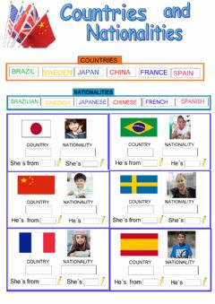 Interactive worksheet Countries, nationalities and flags