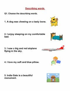 Interactive worksheet Describing words- Adjectives