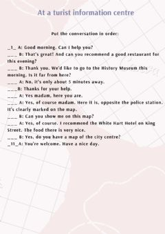 Interactive worksheet At a tourist information centre
