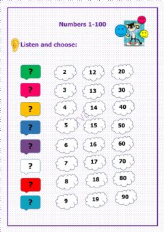 Interactive worksheet Listening Numbers 1-100