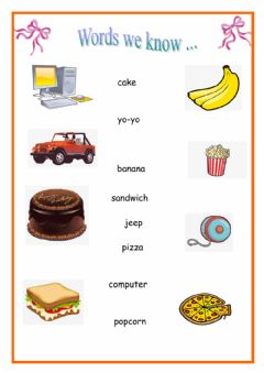 Interactive worksheet Words we know