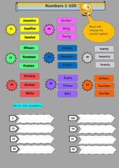 Interactive worksheet Numbers 1-100 Writing