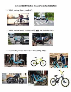 Ficha interactiva Independent Practice (Supported) - Cyclist Safety