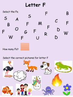 Interactive worksheet Letter F