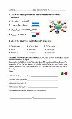 Interactive worksheet Origin and Nationality