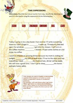 Interactive worksheet Time expressions