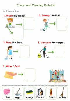 Interactive worksheet Chores and Cleaning materials