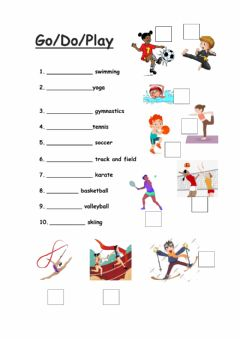 Interactive worksheet Play-Do-Go + Sports