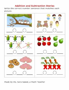 Interactive worksheet Addition and Subtraction Sentences