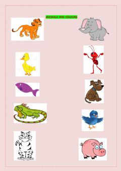 Interactive worksheet Listen and Learn:Colours and Animals