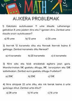 Interactive worksheet Aukera problemak
