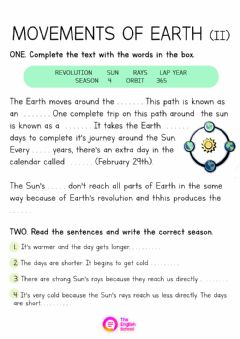 Interactive worksheet Movements of Earth 2
