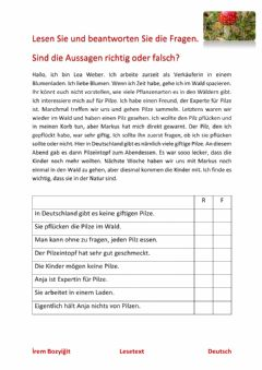 Interactive worksheet Lesetext - Pilze