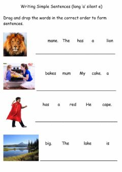 Interactive worksheet Long a silent e