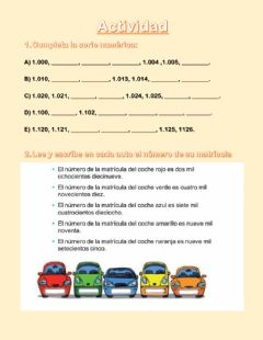 Interactive worksheet Unidades de mil
