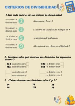 Interactive worksheet Criterios de divisibilidad 5º