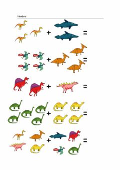Interactive worksheet Sumar dinosaurios