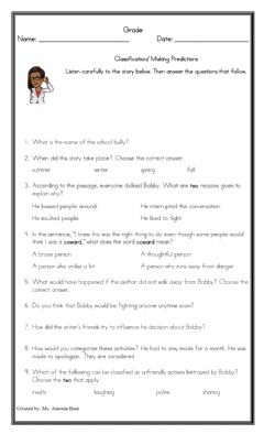 Interactive worksheet An Encounter with a Bully - Classification and Making Predictions