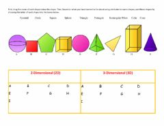 Interactive worksheet Name and sort 2D and 3D Shapes