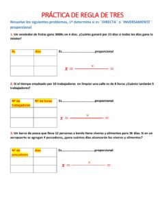 Interactive worksheet regla de tres