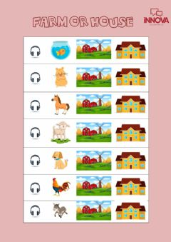 Interactive worksheet Where do they live? Farm or house?