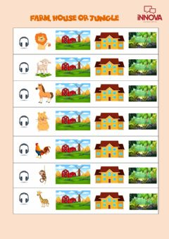 Interactive worksheet Where do they live? Farm, house or jungle?