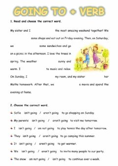 Interactive worksheet Going to + verb