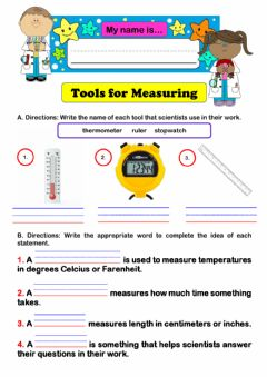 Interactive worksheet Science Tools for Measuring