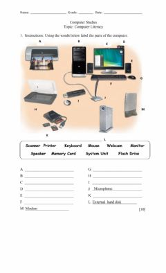 Interactive worksheet Parts of the computer