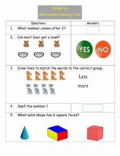 Interactive worksheet Infant 1 Math Test
