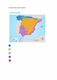 Ficha interactiva Social Science Exam Unit 2 - Climate Map