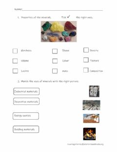 Interactive worksheet Minerals and its uses