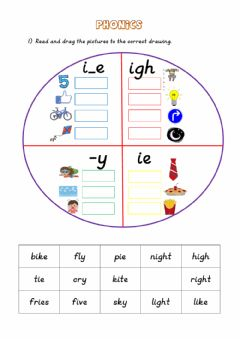 Interactive worksheet Phonics: ie - igh - i-e - y